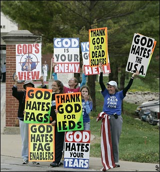 Westboro Baptist Church members at a funeral for a U.S. soldier killed in Iraq