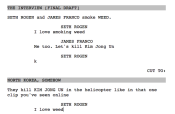 An early draft of the script from The Interview