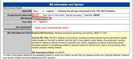 Make sure you comment on SB444 (not AB) and choose the April 14 version from the drop down menu.