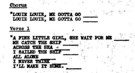 Louie Louie Lyrics 1