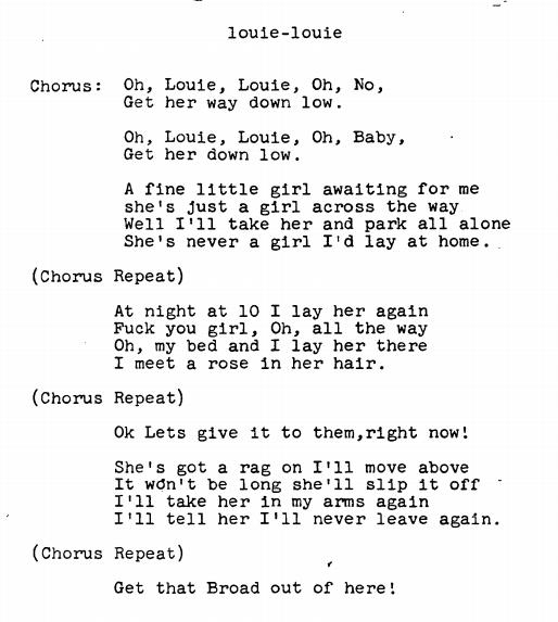 The Raunchy Version of Louie Louie — Lyrics Are Public Domain? | The Legal  Satyricon