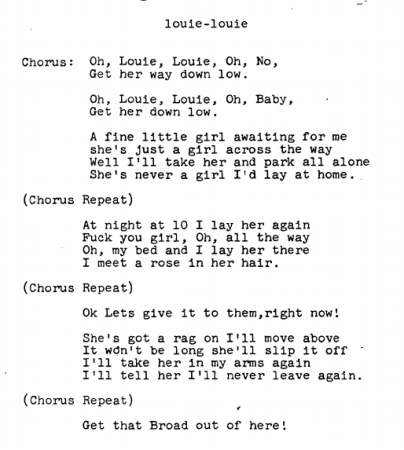 After a two year investigation, the FBI concluded that these were not the words to Louie Louie.
